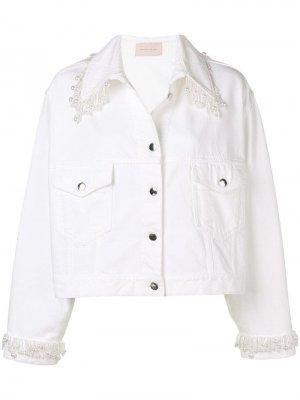 Джинсовая куртка с бахромой из жемчуга Christopher Kane