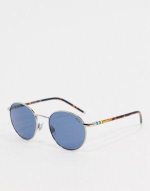 Круглые солнцезащитные очки в серебристой оправе -Серебряный Polo Ralph Lauren
