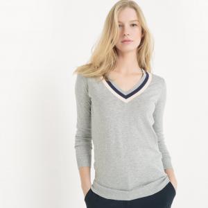 Пуловер с V-образным вырезом контрастного цвета La Redoute Collections. Цвет: светло-серый меланж