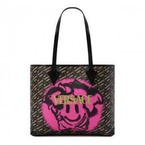 Сумка-шопер Monogram Versace. Цвет: хаки