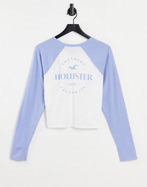 Бело-синий лонгслив с овальным вырезом -Темно-синий Hollister