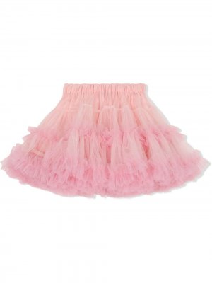 Юбка мини с оборками из тюля Dolce & Gabbana Kids. Цвет: розовый