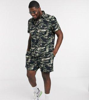 Камуфляжная рубашка из ткани рипстоп с короткими рукавами Plus & Tall-Черный New Look