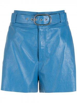 Кожаные шорты Olga с поясом Nk. Цвет: синий