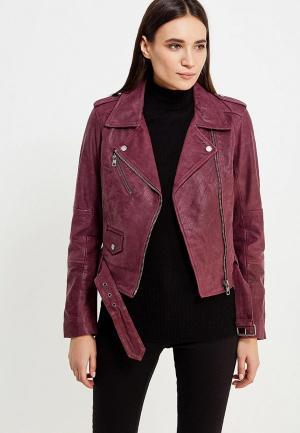 Куртка кожаная Calvin Klein Jeans CA939EWUHM74. Цвет: бордовый