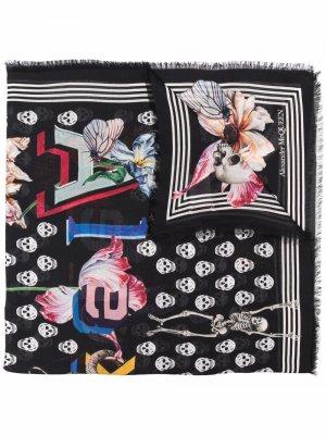 Skull-print logo scarf Alexander McQueen. Цвет: черный