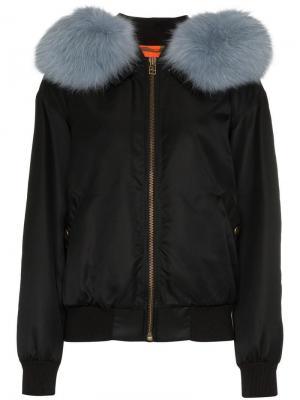 Куртка-бомбер с меховой отделкой на капюшоне Mr & Mrs Italy. Цвет: черный
