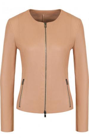 Приталенная кожаная куртка с круглым вырезом DROMe. Цвет: бежевый