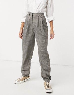 Серые объемные брюки-галифе со складками в клетку -Серый ASOS DESIGN