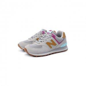 Комбинированные кроссовки 574 New Balance. Цвет: серый