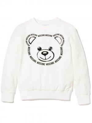 Толстовка с круглым вырезом и принтом Teddy Bear Moschino Kids. Цвет: белый