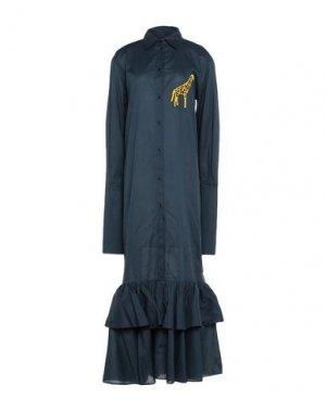 Длинное платье AU JOUR LE. Цвет: темно-синий