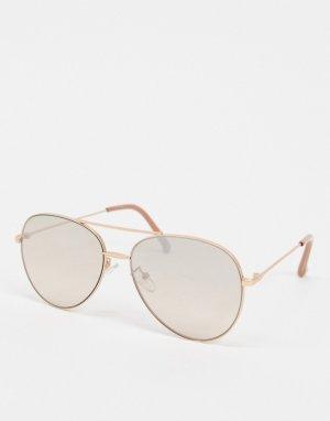 Солнцезащитные очки-авиаторы в золотистой оправе -Золотой Jeepers Peepers