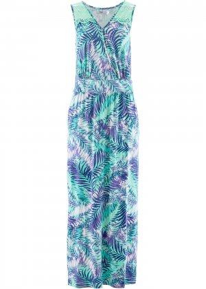 Трикотажное платье макси bonprix. Цвет: зеленый