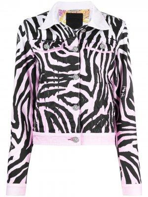 Джинсовая куртка с зебровым принтом Philipp Plein. Цвет: розовый
