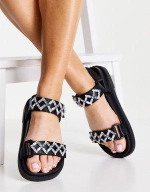Черные сандалии из переработанных материалов в винтажном стиле с декоративной отделкой бусинами Sandar-Черный Monki