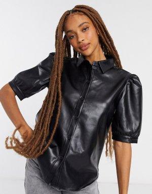 Черная рубашка из искусственной кожи с объемными рукавами -Черный BB Dakota