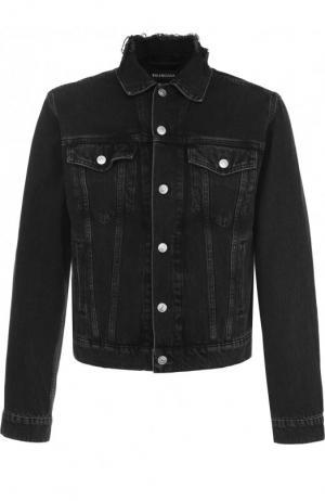 Укороченная джинсовая куртка с принтом Balenciaga. Цвет: черный