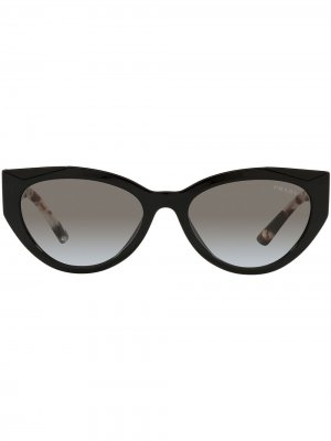 Солнцезащитные очки в оправе кошачий глаз Prada Eyewear. Цвет: черный