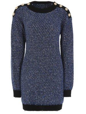 Платье с пайетками Balmain. Цвет: синий