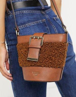 Коричневая сумка-торба с отделкой из искусственного меха Darrah-Коричневый цвет Dune