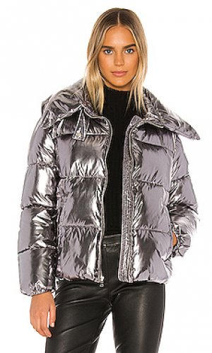 Дутая куртка KENDALL + KYLIE. Цвет: металлический серебряный
