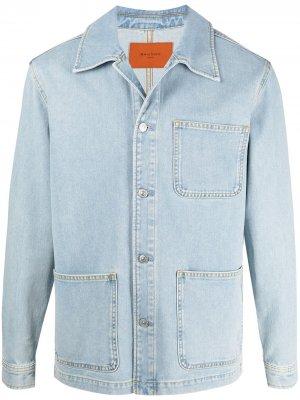 Джинсовая куртка Worker с карманами Sandro Paris. Цвет: синий