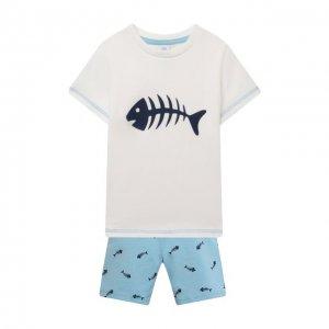 Хлопковая пижама Sanetta. Цвет: синий