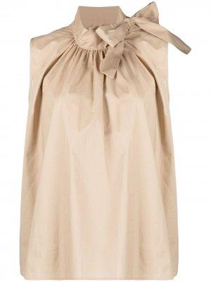 Блузка без рукавов с бантом Semicouture. Цвет: нейтральные цвета