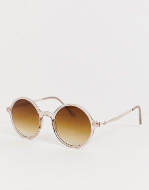 Круглые солнцезащитные очки AJ Morgan. Цвет: коричневый