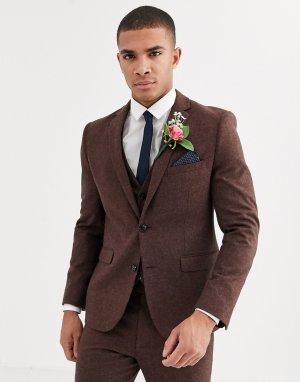 Узкий твидовый пиджак -Коричневый Harry Brown