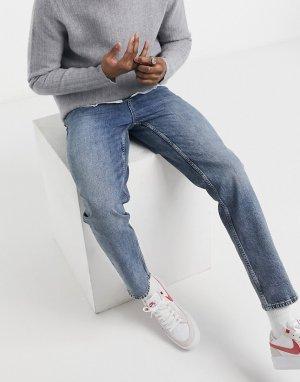 Синие выбеленные джинсы прямого кроя с завышенной талией -Синий ASOS DESIGN