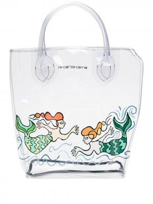 Большая прозрачная сумка-тоут с принтом 10 CORSO COMO. Цвет: нейтральные цвета