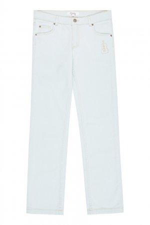 Голубые джинсы с вышивкой Bonpoint. Цвет: multicolor