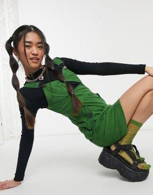 Зеленое джинсовое платье мини с декоративным вырезом House Of Holland-Зеленый цвет Holland