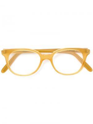 Очки в круглой оправе Cutler & Gross. Цвет: жёлтый и оранжевый
