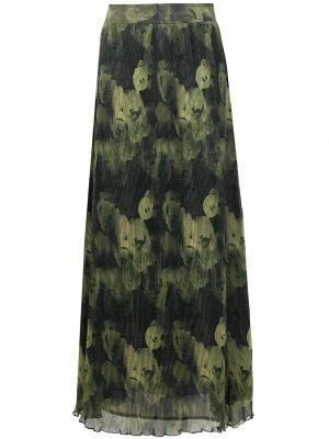Плиссированная юбка макси из ткани жоржет GANNI. Цвет: зеленый