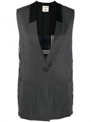 Пиджак без рукавов с плиссировкой на спине Semicouture. Цвет: серый