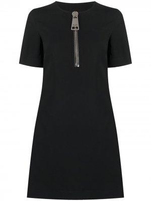Платье длины мини с большой молнией Moschino. Цвет: черный