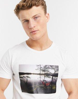 Белая футболка из органического хлопка с фото -Белый Knowledge Cotton Apparel