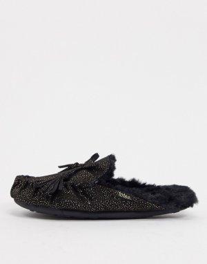 Черные слипперы-мюли в стиле мокасинов с блестками -Черный Totes