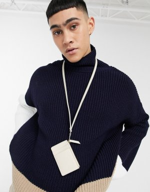 Кожаный кошелек с зернистой поверхностью светло-бежевого цвета со шнурком для шеи -Бежевый ASOS DESIGN