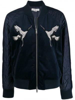 Куртка-бомбер с вышивкой Golden Goose. Цвет: синий