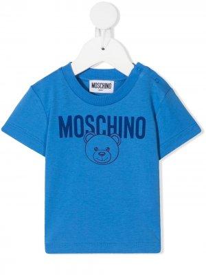 Teddy Bear-print cotton T-shirt Moschino Kids. Цвет: синий