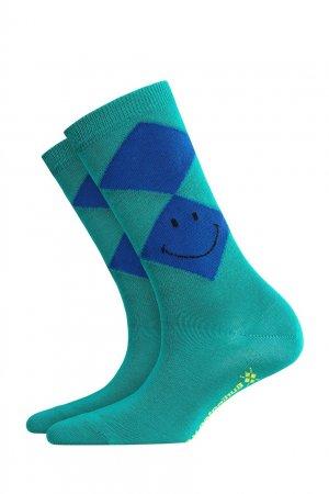 Зеленые носки Smiley Argyle Burlington. Цвет: зеленый
