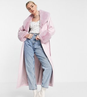 Розовый удлиненный макинтош из искусственной кожи со съемным воротником искусственного меха Inspired-Розовый цвет Reclaimed Vintage