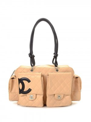 Стеганая сумка-тоут Cambon с логотипом CC Chanel Pre-Owned. Цвет: нейтральные цвета