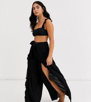 Эксклюзивные черные пляжные брюки с оборками -Черный Glamorous