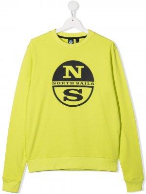 Свитер из органического хлопка с логотипом North Sails Kids. Цвет: зеленый