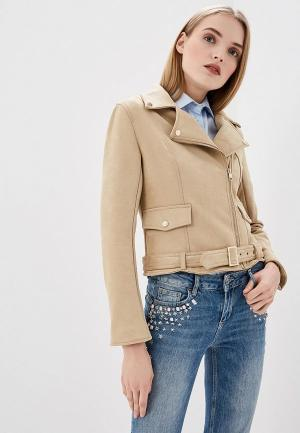 Куртка кожаная Liu Jo. Цвет: бежевый